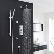"Beaumont Thermostatic Shower System with 8"" Square Head & Wall Arm, Handset & 4 Square Jet Sprays"