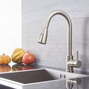 Quest - Brushed Nickel Single-Hole Pull-Down Kitchen Faucet