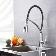 Quest - Black and Chrome Pull-Down Kitchen Faucet