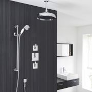 "Traditional 2-Outlet Shower System with 12"" Apron Head, Hand Shower & Shut-Off Valves"