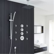 "3-Outlet Shower System with 12"" Square Head, Body Jets & Shut-Off Valves"