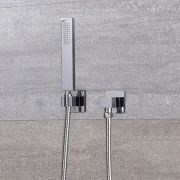 Arcadia Sqaure Chrome Shower Kit with Integrated Outlet Elbow and Parking Bracket