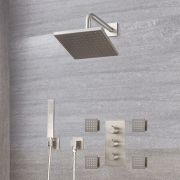 "Arcadia Thermostatic Shower System with 8"" Shower Head, Handshower and 4 Body Sprays - Available in Multiple Finishes"