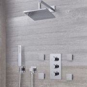 "Arcadia Thermostatic Chrome Shower System with 8"" Shower Head, Handshower and 4 Body Sprays"