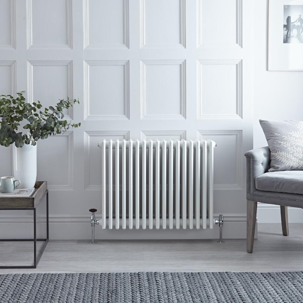 "Cache Radiateur En Fonte regent - white horizontal 4-column traditional cast-iron style radiator -  23.5"" x 30"""
