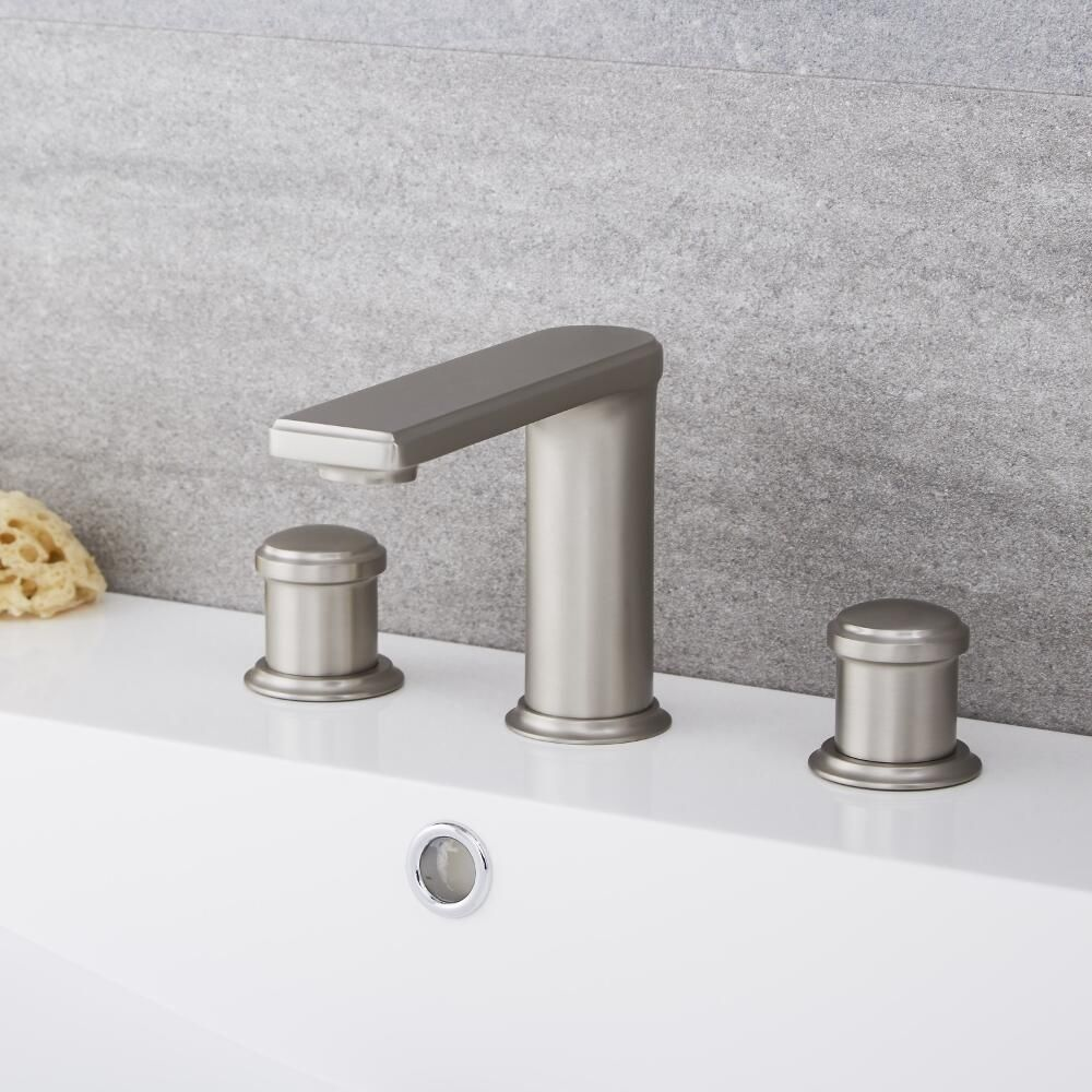Widespread Brushed Nickel Bathroom Faucet