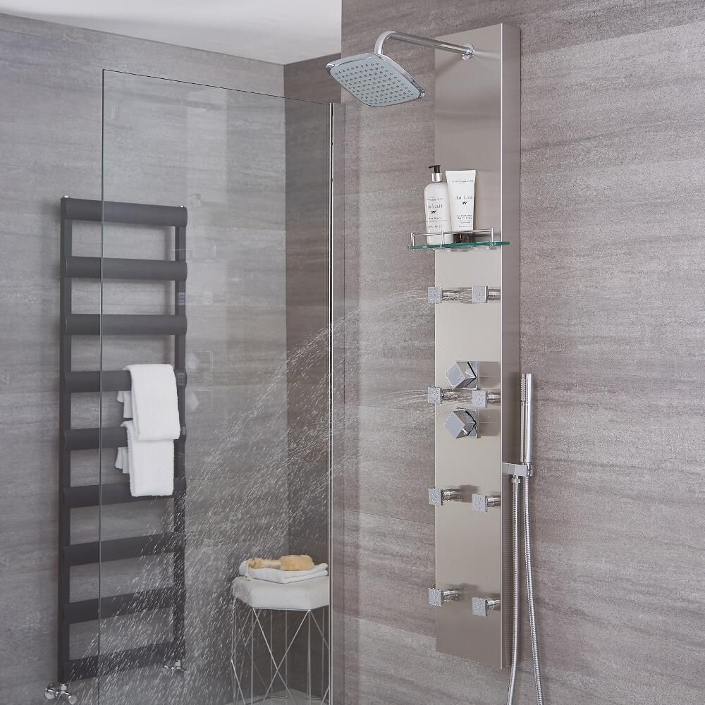 Brushed Steel Thermostatic Shower Panel