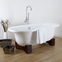 Oval Roll Top Freestanding Tub with Wooden Feet 70""