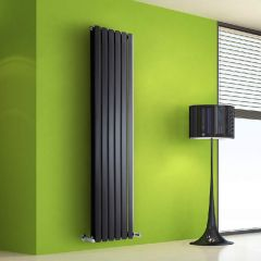 "Edifice - Black Vertical Double-Panel Designer Radiator - 63"" x 16.5"""
