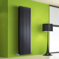 "Edifice - Black Vertical Double-Panel Designer Radiator - 63"" x 22"""