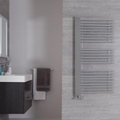 "Bosa - Chrome Hydronic Designer Towel Warmer - 46.75"" x 23.5"""