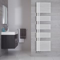 "Iseo - Mineral White Hydronic Designer Towel Warmer - 67"" x 19.75"""