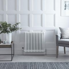 "Regent - White Horizontal 4-Column Traditional Cast-Iron Style Radiator - 23.5"" x 23"""