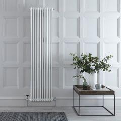 "Regent - White Vertical 3-Column Traditional Cast-Iron Style Radiator - 70.75"" x 18.5"""