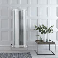 "Regent - White Vertical 3-Column Traditional Cast-Iron Style Radiator - 59"" x 22.25"""