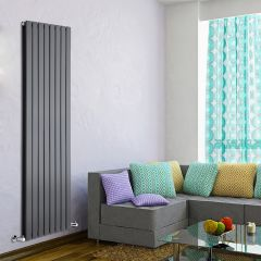 "Delta - Anthracite Vertical Double Slim-Panel Designer Radiator - 70"" x 22"""