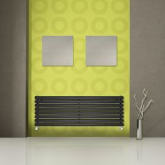"Revive - Black Horizontal Double-Panel Designer Radiator - 18.5"" x 70"""