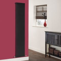 "Fin - Black Vertical Single-Panel Designer Radiator - 70"" x 13.5"""