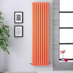 """Sloane - Light Orange Double Flat Panel Vertical Designer Radiator - 70"""" x 18.5"""""""