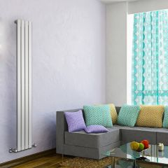 "Delta - White Vertical Single Slim-Panel Designer Radiator - 70"" x 11"""