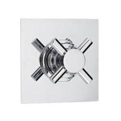 3-Way Diverter Shower Valve with Square Plate and Modern Crosshead Handle