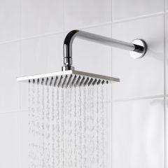 "Square 8"" One-function Rainshower Showerhead & 13"" x 1"" Arm - Polished Chrome"