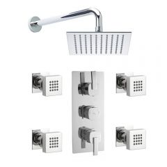 Arco Triple Concealed Thermostatic Shower Valve, Sheer Fixed Head And Body Jets