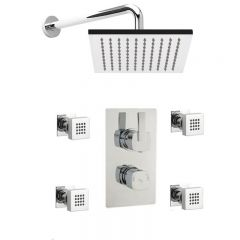 Arco Twin Concealed Thermostatic Shower Valve With Diverter, Sheer Fixed Head And Body Jets