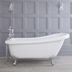 "Traditional Acylic Freestanding Slipper Bath Tub 65"""