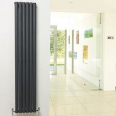 "Revive - Anthracite Vertical Double-Panel Designer Radiator - 63"" x 14"""