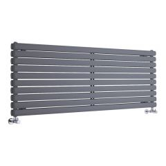 "Revive - Anthracite Horizontal Double-Panel Designer Radiator - 23.25"" x 63"""