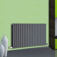 "Sloane - Anthracite Horizontal Double Flat-Panel Designer Radiator - 25"" x 46.5"""