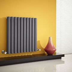 "Revive - Anthracite Horizontal Double-Panel Designer Radiator - 25"" x 23.5"""
