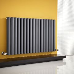 "Revive - Anthracite Horizontal Double-Panel Designer Radiator - 25"" x 39.25"""