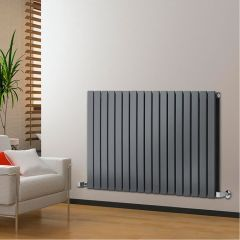 "Delta - Anthracite Horizontal Double Slim-Panel Designer Radiator - 25"" x 46.75"""