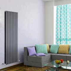 "Delta - Anthracite Vertical Double Slim-Panel Designer Radiator - 63"" x 22"""