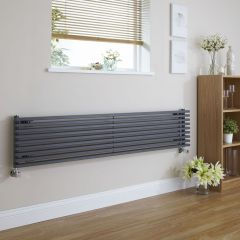 "Fin - Anthracite Horizontal Single-Panel Designer Radiator - 13.5"" x 63"""
