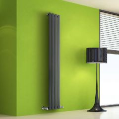 "Edifice - Anthracite Vertical Single-Panel Designer Radiator - 63"" x 11"""