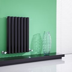"Revive - Black Horizontal Double-Panel Designer Radiator - 25"" x 16.25"""