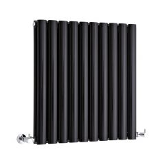 "Revive - Black Horizontal Double-Panel Designer Radiator - 25"" x 23.5"""