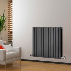 "Delta - Black Horizontal Double Slim-Panel Designer Radiator - 25"" x 33"""