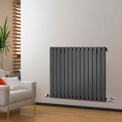 "Delta - Black Horizontal Single Slim-Panel Designer Radiator - 25"" x 38.5"""