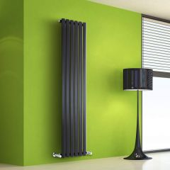 "Edifice - Black Vertical Single-Panel Designer Radiator - 63"" x 16.5"""