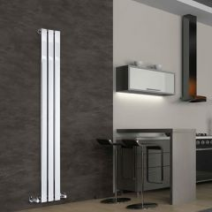 "Delta - Chrome Vertical Single Slim-Panel Designer Radiator - 63"" x 8.75"""