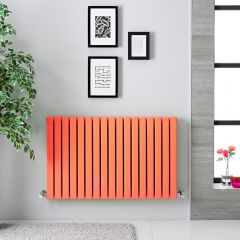 "Sloane - Light Orange Double Flat Panel Horizontal Designer Radiator - 25"" x 39.5"""