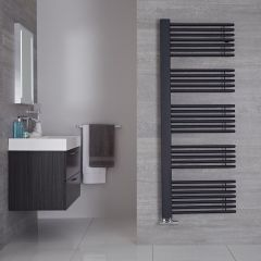 "Bosa - Anthracite Hydronic Designer Towel Warmer - 63"" x 23.5"""