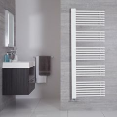"Bosa - Mineral White Hydronic Designer Towel Warmer - 63"" x 23.5"""