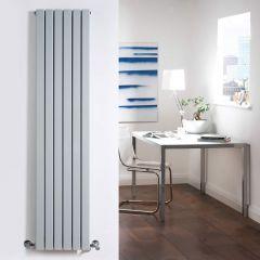 "Sloane - Silver Vertical Double Flat-Panel Designer Radiator - 63"" x 14"""