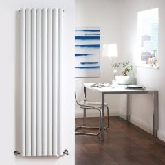 "Revive - White Vertical Double-Panel Designer Radiator - 63"" x 18.5"""