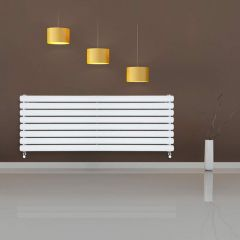 "Revive - White Horizontal Double-Panel Designer Radiator - 18.5"" x 63"""